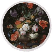 Still Life With Flowers And Watch Round Beach Towel