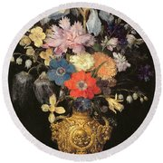 Still Life With Flowers, C.1604 Round Beach Towel by Georg Flegel
