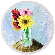 Still Life With Flowers Round Beach Towel