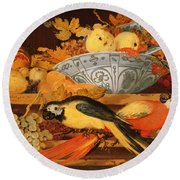 Still Life With Fruit And Macaws, 1622 Round Beach Towel