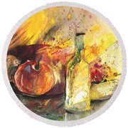 Still Life With Fruits And Flowers And Bottle Round Beach Towel