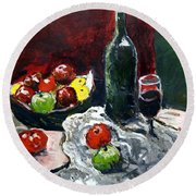 Still Life With Fruits And Wine Round Beach Towel