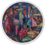 Still Life With Grapes Round Beach Towel