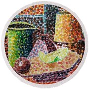 Still Life With Green Jug Painting Round Beach Towel