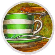 Still Life With Green Stripes And Saddle  Round Beach Towel
