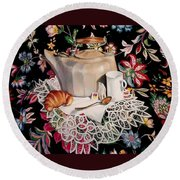 Still Life With Lace Round Beach Towel