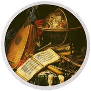 Still Life With Musical Instruments Oil On Canvas Round Beach Towel