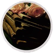 Still Life With Old Books And Two Pink Roses Round Beach Towel