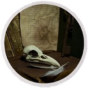 Still Life With Old Books Rusty Key Bird Skull And Feathers Round Beach Towel