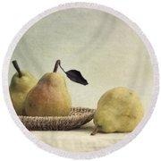 Still Life With Pears Round Beach Towel by Priska Wettstein
