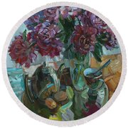 Still Life With Peonies Round Beach Towel