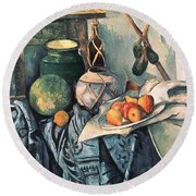 Still Life With Pitcher And Aubergines Oil On Canvas Round Beach Towel