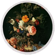 Still Life With Poppies And Roses Round Beach Towel