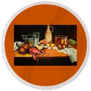 Still Life With Pots Fruit Etc. Round Beach Towel