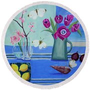 Still Life With Sea View Sold Round Beach Towel