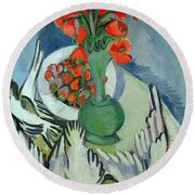 Still Life With Seagulls Poppies And Strawberries Round Beach Towel