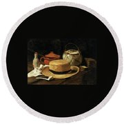Still Life With Straw Hat Round Beach Towel