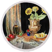 Still Life With Sunflowers Lemon Apples And Geranium  Round Beach Towel