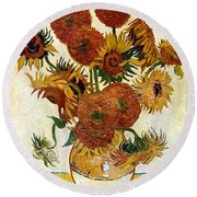 Still Life With Sunflowers Round Beach Towel