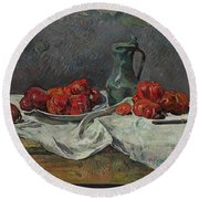 Still Life With Tomatoes Round Beach Towel