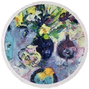 Still Life With Turquoise Bottle Round Beach Towel