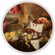 Still Life With View Round Beach Towel
