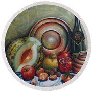 Still Life With Water Melon Round Beach Towel
