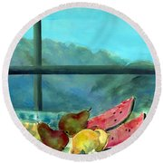 Still Life With Watermelon Oil & Acrylic On Canvas Round Beach Towel