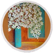 Still Life With White Flowers Round Beach Towel