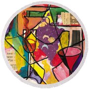 Still Life With Wine And Fruit B Round Beach Towel by Everett Spruill