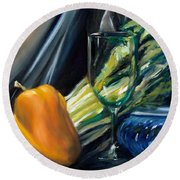 Still Life With Yellow Pepper Bok Choy Glass And Dish Round Beach Towel