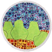 Still Pears Round Beach Towel