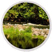 Still Pool And Fast River Round Beach Towel