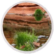Still Waters At Slide Rock Round Beach Towel