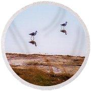 Stilt Birds Round Beach Towel