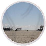 Stilt Houses - North Sea - Germany Round Beach Towel