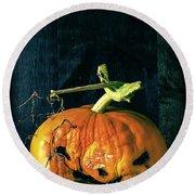 Stingy Jack - Scary Halloween Pumpkin Round Beach Towel by Edward Fielding