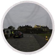 Stirling Castle And The Parking Area For The Castle Round Beach Towel