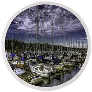 Stirring The Sky Round Beach Towel