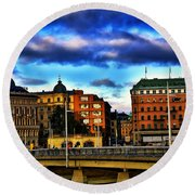 Stockholm In Color Round Beach Towel