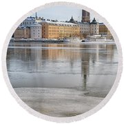 Stockholm Winter Round Beach Towel