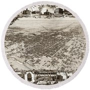 Stockton San Joaquin County California  1895 Round Beach Towel by California Views Mr Pat Hathaway Archives