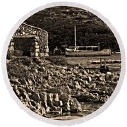 Roman Port Of Sa Nitja In Minorca - Stone And Sea Sephia Version Round Beach Towel
