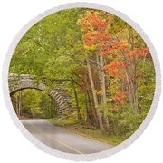 Stone Arch Bridge In Acadia National Park Round Beach Towel
