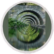 Stone Arch Bridge Over Troubled Waters - 1st Place Winner Faa Optical Illusions 2-26-2012 Round Beach Towel