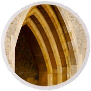 Stone Archway At Tower Hill Round Beach Towel