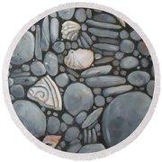 Stone Beach Keepsake Rocky Beach Shells And Stones Round Beach Towel