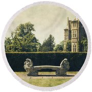 Stone Bench Round Beach Towel
