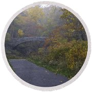Stone Bridge In Autumn 3 Round Beach Towel