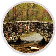 Stone Bridge In The Ozarks Round Beach Towel by Benjamin Yeager